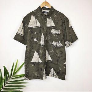 CHAPS short sleeve button down sailboat shirt